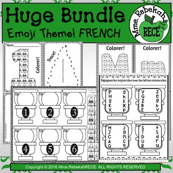 HUGE FRENCH BUNDLE ALPHABET AND NUMBERS ACTIVITIES EMOJI THEME