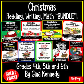 Christmas Bundle: Nine Reading, Math and Writing Resources