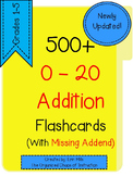 HUGE LOT-Addition Flashcards 0-20 with Missing Addends!