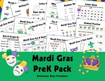 HUGE! Mardi Gras PreK Printable Learning Pack