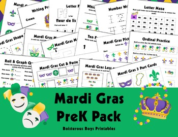 HUGE! Mardi Gras PreK Printable Learning Pack