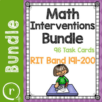Full Bundle Math Interventions or Test Prep Task Cards NWEA RIT Band 181-220