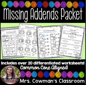 HUGE Missing Addend Math Packet