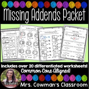 HUGE Missing Addend Math Packet