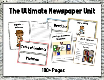 NEWSPAPER UNIT - Packets, Worksheets, Prompts, Samples, Template, LPs & More!