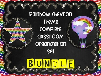HUGE Rainbow Chalkboard Theme Themed Complete Classroom Or