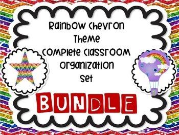 HUGE Rainbow Chevron Theme Themed Complete Classroom Organ