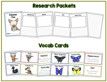 HUGE Research Project Bundles 32 Groups & 400+ Animals Vocab Cards Packet & More