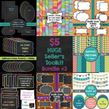 HUGE Seller's Toolkit Bundle #3! Digital Papers, Borders, Frames, & Accents