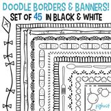 HUGE Set of 45 Doodle Border Frames & Banners