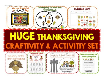 HUGE Thanksgiving Craftivity and Activity Set