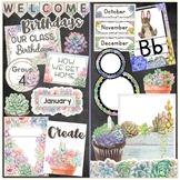 HUGE Watercolor Succulents Bundle {Editable} FULL Classroom Decor - GREAT VALUE