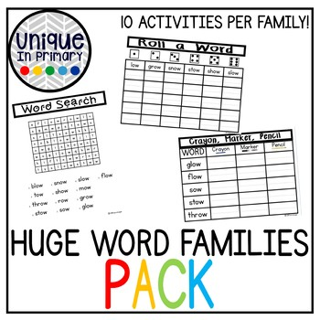 HUGE Word Families Bundle NO PREP 10 Activities Per Word Family (530+ pages!!)