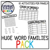 HUGE Word Families Bundle NO PREP 10 Activities Per Word F