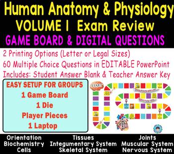 HUMAN ANATOMY Volume 1 Exam REVIEW ~ 60 Digital Questions & GAME BOARD~  EDITABLE
