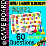 HUMAN ANATOMY Volume 2 Exam REVIEW ~ 60 Digital Questions & GAME BOARD~ EDITABLE