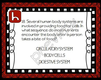 HUMAN BODY Task Cards for Middle and High School Biology Life Science