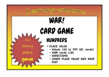 PLACE VALUE - WAR - Card Game - Hundreds