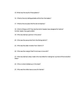 HUNGER GAMES BK 3 - Mockingjay Short Answer Chapter Questions