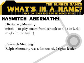 THE HUNGER GAMES Character Names Meanings PowerPoint