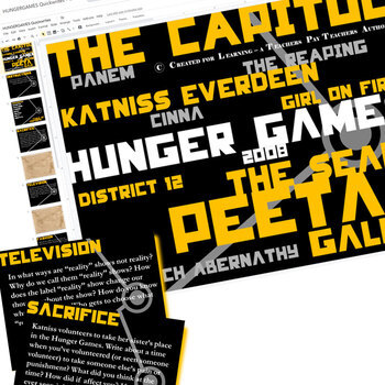 HUNGER GAMES Journal - Quickwrite Writing Prompts (Created for Digital)