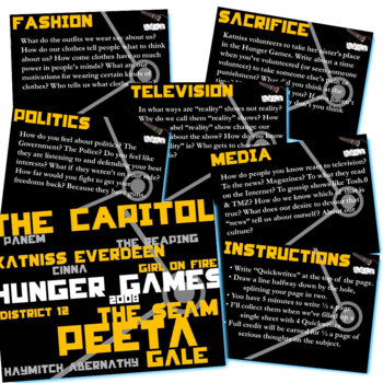 THE HUNGER GAMES Journal - Quickwrite Writing Prompts - PowerPoint