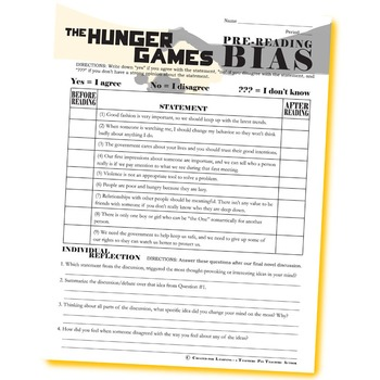THE HUNGER GAMES PreReading Bias (by Collins)