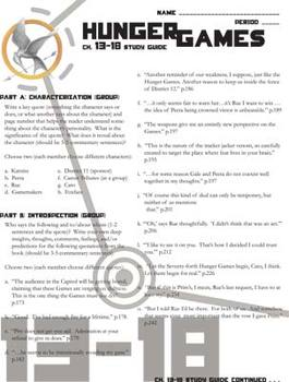 THE HUNGER GAMES Study Guide Chapters 13-18 (groupwork and short answers)