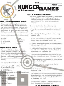 THE HUNGER GAMES Study Guide Entire Novel (groupwork and short answers)