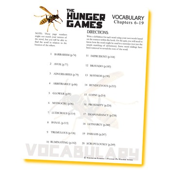 THE HUNGER GAMES Vocabulary List and Quiz (chapters 6-19)