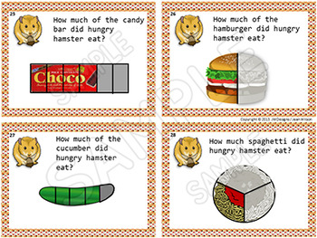 Illustrated FRACTION Task Cards, fractions for beginners