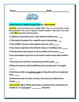 HURRICANES: AN EARTH SCIENCE/ WEATHER QUIZ