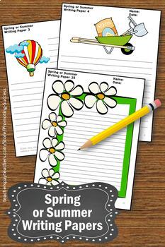 Spring Writing Paper, Summer Writing Paper, Summer School Activities