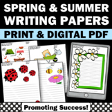 Spring or Summer Writing Paper for Kids For Summer School Literacy Activities