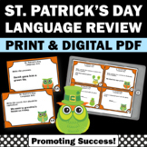 St. Patrick's Day Literacy Activities, Grammar Practice Task Cards