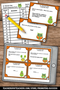 St. Patrick's Day Literacy Activities, Grammar Practice Task Cards