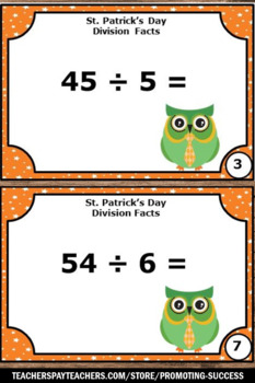 St. Patrick's Day Math Activities, Division Facts Task Cards