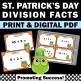 St. Patrick's Day Math Center Activities, Division Facts Practice Task Cards
