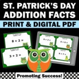St. Patrick's Day Math Games, Kindergarten Addition Task Cards SCOOT