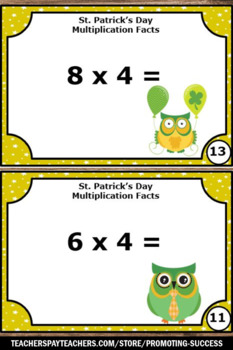 St. Patrick's Day Math Games, 3rd Grade Multiplication Task Cards