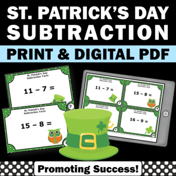St. Patrick's Day Math Task Cards Kindergarten Subtraction Centers
