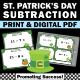 St. Patrick's Day Math Activities, Kindergarten Subtraction Task Cards