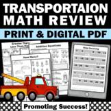 No Prep Back to School Kindergarten Math Worksheets, Transportation Theme