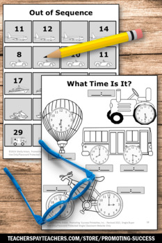no prep back to school kindergarten math worksheets transportation theme. Black Bedroom Furniture Sets. Home Design Ideas