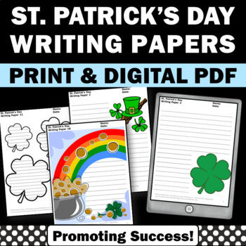 St. Patrick's Day Creative Writing Papers March Literacy Center Activities