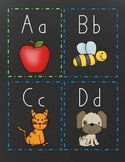 HWT Alphabet Cards for Word Walls & Flashcards - Chalkboard Themed