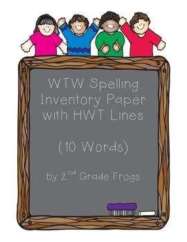 HWT Spelling Paper for 10 Words