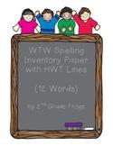 HWT Spelling Paper for 12 Words