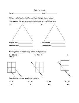 HW/Worksheet Big and Extended Numbers, Single and Double Digit Mult