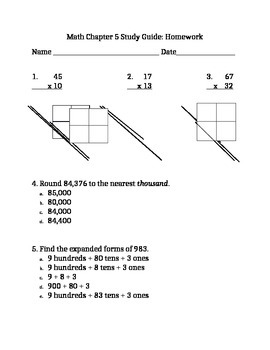 HW/Worksheet/Quiz/Review Big and Extended Numbers, Single and Double Digit Mult